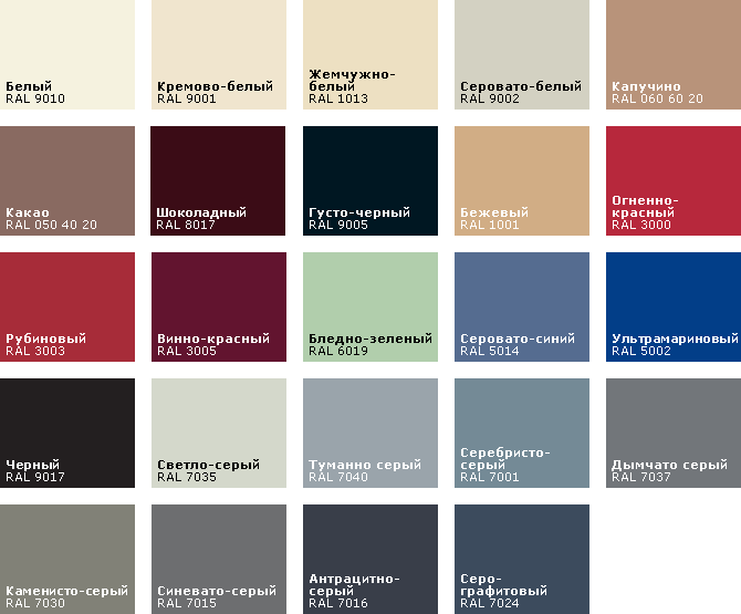 25 классических цветов RAL